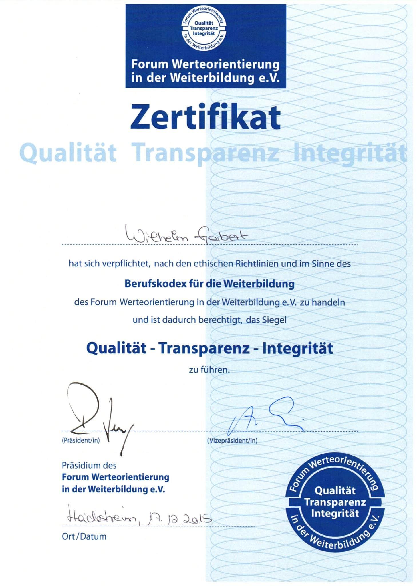 Zertifikat Akademie für Manager